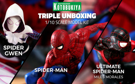Kotobukiya ArtFX+ Spider-Man, Spider-Gwen, Ultimate Spider-Man Unboxing